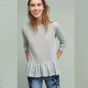 ANTHROPOLOGIE Pure + Good Ruffled Hem Sweatshirt